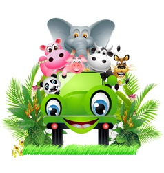 Funny animal cartoon in green car vector