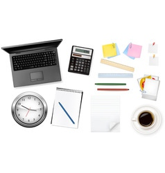 grey notebook and group of office sumples vector image vector image