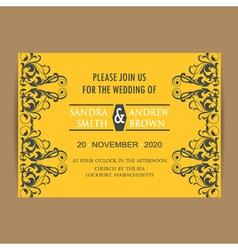 Wedding vintage invitation card yellow vector image vector image