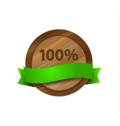 100 green wooden badge vector image