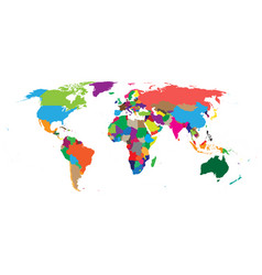 blank colorful political world map isolated on vector image vector image