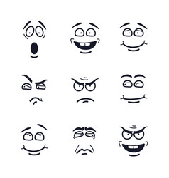cartoon faces with expressions emotion set vector image