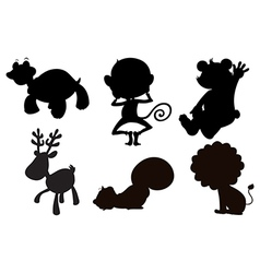 Different animals in black gray and brown colors vector image vector image