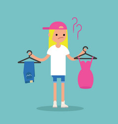 difficult choice young blonde girl is trying to vector image