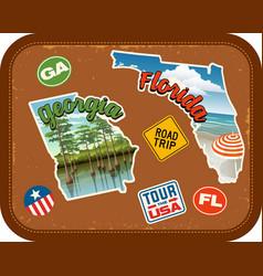 georgia florida travel stickers vector image vector image
