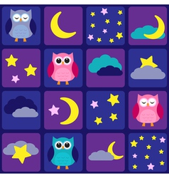 Night sky with owls vector image