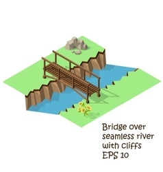 wooden bridge cross river vector image