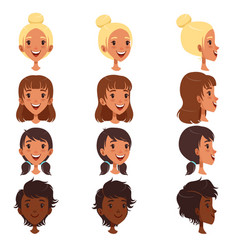 beautiful young women with various hair style set vector image