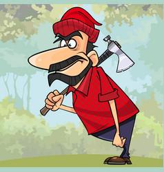 cartoon surprised man lumberjack standing vector image vector image