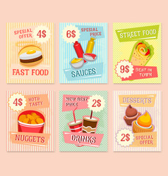 fast food snacks price cards templates vector image vector image