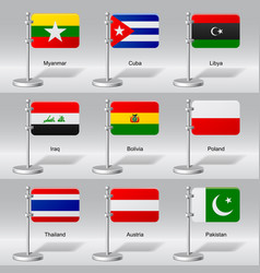 Set of world table flags vector