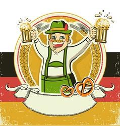 German man and beersVintage oktoberfest symbol on vector image