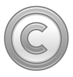 Gray copyright symbol sign matte icon vector
