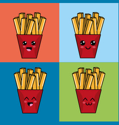 kawaii set fries potatoes icon with beautiful vector image vector image