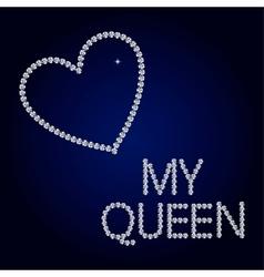 shiny diamond heart Valentines Day Card vector image