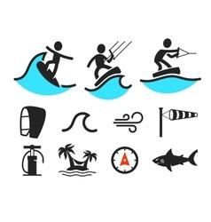 Summer water sport pictograms vector image vector image