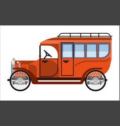 Vintage orange old mini bus isolated on white vector