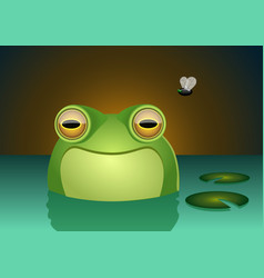 A happy frog character smiling inside a swamp vector