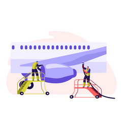 Airport employee servicing plane man in uniform vector