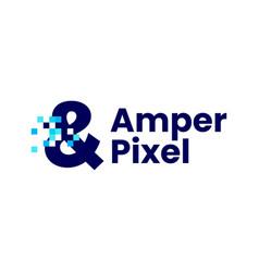 Ampersand sign pixel mark digital 8 bit logo icon vector
