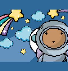 astronaut boy in the galaxy pixel art vector image