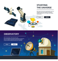 astronomy banners set of science theme vector image