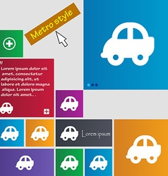 Auto icon sign Metro style buttons Modern vector image