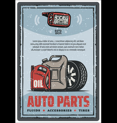 Auto parts shop and tire store vintage poster vector