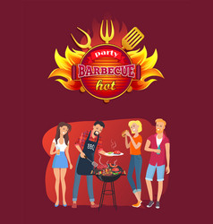Barbecue party emblem and friends around grill vector
