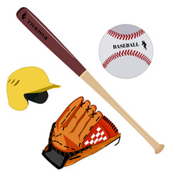 Baseball glove helmet bat and ball flat vector