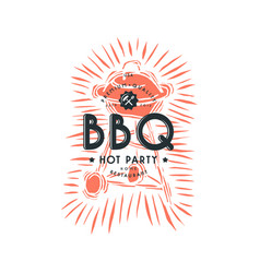 Bbq grill and typographic emblem vector