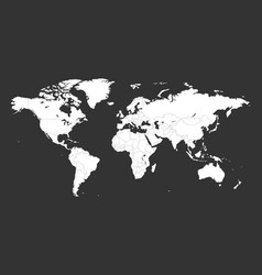 Blank white political world map isolated on black vector