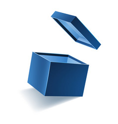 Blue opened 3d realistic gift box with flying off vector