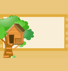Border template with treehouse background vector