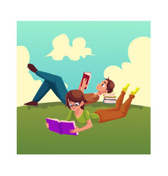 Boy man reading book woman in glasses reading vector