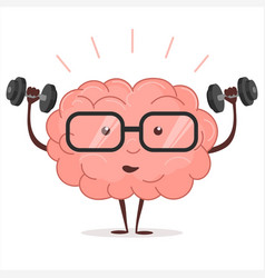 Brain training with dumbbells and glasses vector