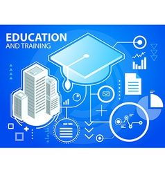Bright cap graduate and buildings on blue ba vector