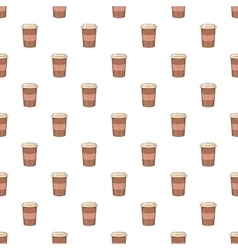 Brown paper cup of coffee pattern cartoon style vector