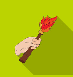 Burning torch in the hand icon in flate style vector