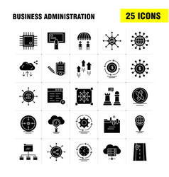 Business administration solid glyph icons set for vector
