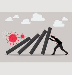 Businessman pushing hard against falling deck vector