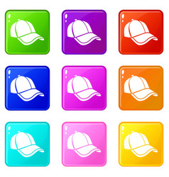 cap icons set 9 color collection vector image