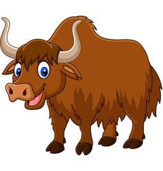 Cartoon happy yak vector