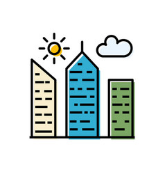 city building filled related icon vector image