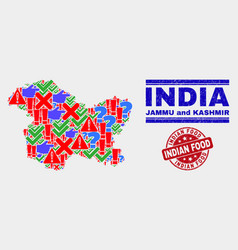 Collage jammu and kashmir state map symbol vector
