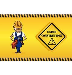 Constructor man cartoon under construction sign vector