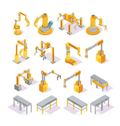 conveyor machines isometric set vector image