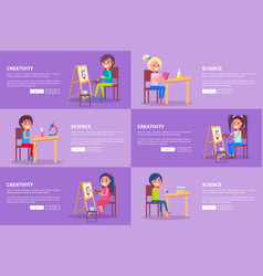 Creativity and science template web banners vector