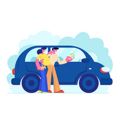 customers buying automobile holding money in hands vector image