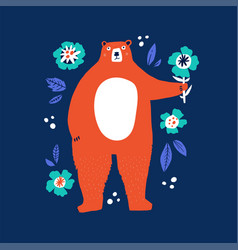 cute bear holding flower flat vector image